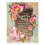 "Pink Rose Pearl Bridal Tea Party 4.25"" X 5.5"" Invitation Card"