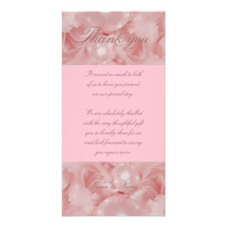 Pink rose pearls thank you cards parties functions picture card