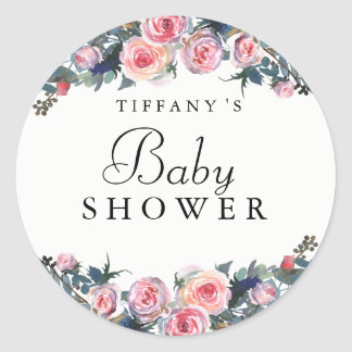 Pink Rose Peony Floral Baby Shower Sticker