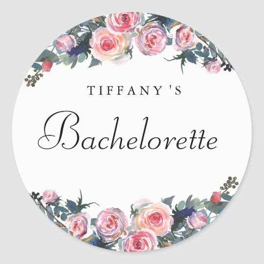 Pink Rose Peony Floral Bachelorette Sticker