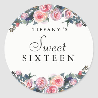 Pink Rose Peony Floral Sweet 16 Sticker
