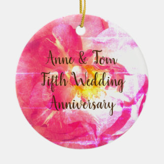 Pink Rose Personalized Anniversary  Ornament