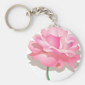 PINK ROSE, PETALS AND STEM, ROSE FLOWER IN BLOOM KEYCHAIN