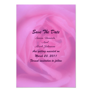 Pink Rose Petals Floral Wedding Save The Date 5x7 Paper Invitation Card