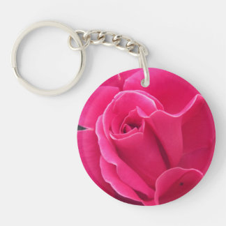 Pink Rose Petals Single-Sided Round Acrylic Keychain