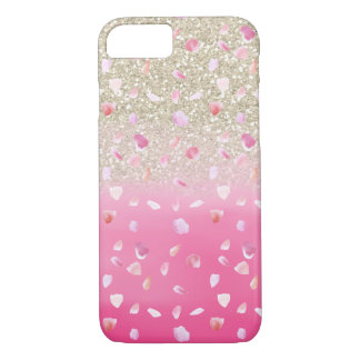Pink Rose Petals Watercolor Faux Gold Glitter iPhone 8/7 Case