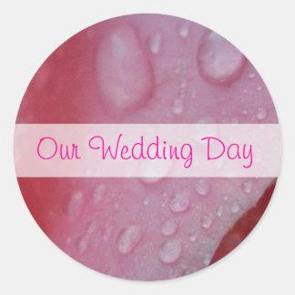 Pink Rose Petals wedding Classic Round Sticker