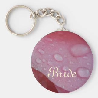 Pink Rose Petals wedding Basic Round Button Keychain