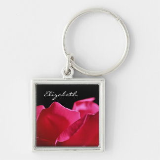 Pink Rose Petals With Name Silver-Colored Square Keychain