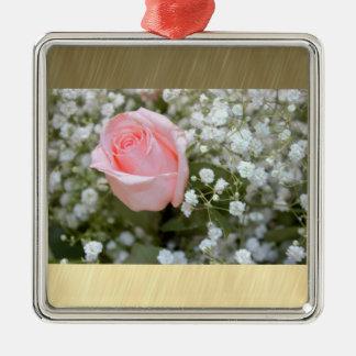 Pink Rose Photo Metal Ornament