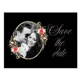 Pink Rose Photo Wedding Save the Date Postcard
