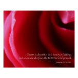 Pink Rose Photography Proverbs 31:30 Poster Print