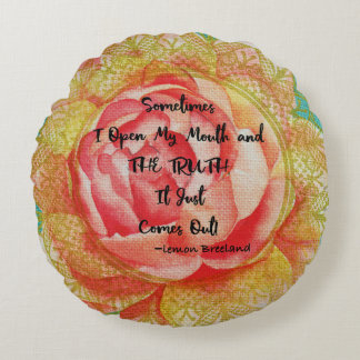 Pink Rose Pillow with Quote