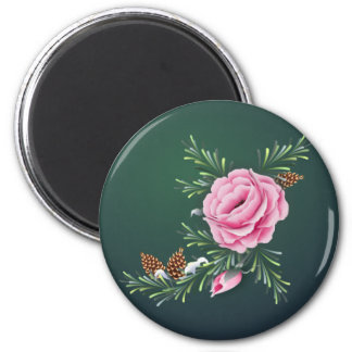 PINK ROSE & PINE by SHARON SHARPE Magnet