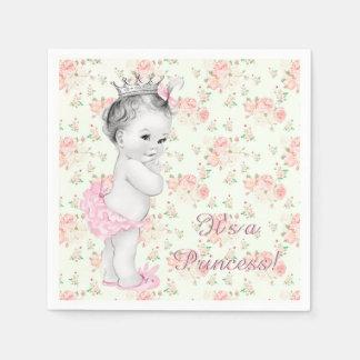 Pink Rose Pink Princess Baby Shower Paper Napkins