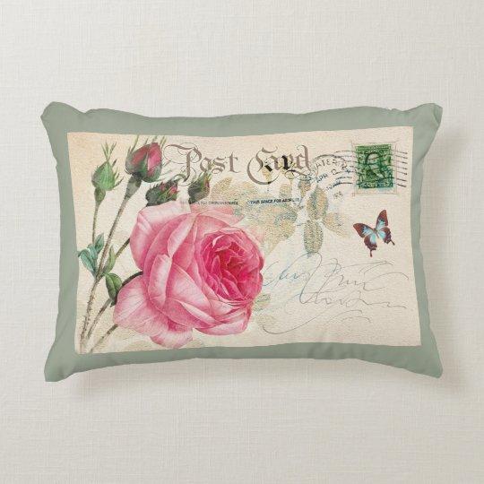 Pink Rose Postacard Decorative Accent Pillow