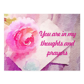"Pink Rose Postcard ""You Are In My Prayers"""