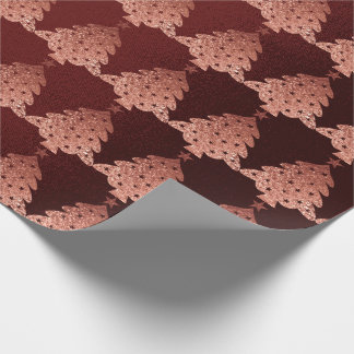 Pink Rose Powder Gold Burgundy Christmas Tree Wrapping Paper