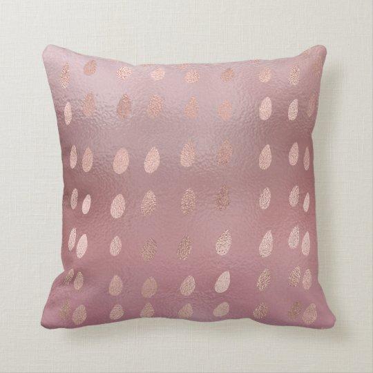 Pink Rose Powder Gold Dots Rain Frozen Glass Throw Pillow