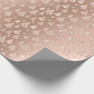 Pink Rose Powder Gold Glitter Christmas Trees Smal Wrapping Paper