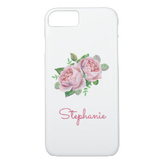 Pink Rose Pretty Watercolor iPhone 8/7 Case