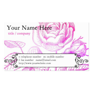 Pink Rose Profile Card Pack Of Standard Business Cards