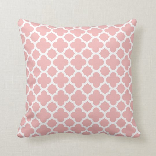 Pink Rose Quatrefoil Trellis Pattern Pillows
