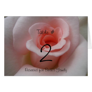 Pink Rose Reception Table Number
