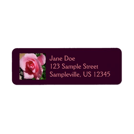 Pink Rose Return Address Label
