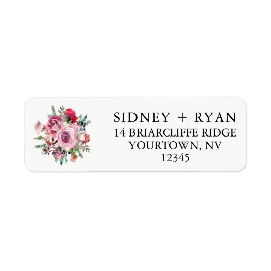 PINK ROSE Return Address Labels Wedding Invitation