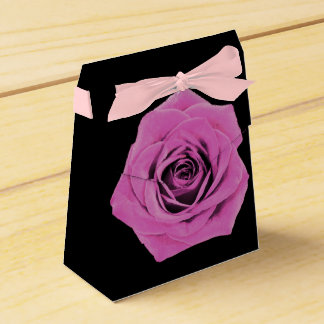 Pink Rose & Ribbon on Black Favor Box