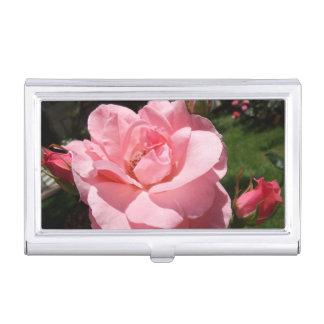 Pink Rose & Rose Buds Business Card Holder