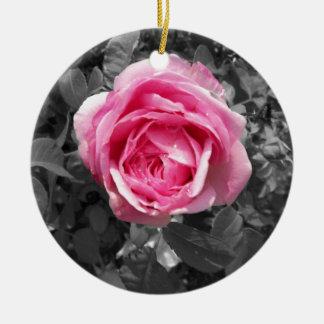 Pink Rose Round Ceramic Ornament