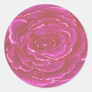 Pink Rose Round Sticker