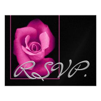 PINK Rose RSVP Wedding Response Card Announcement