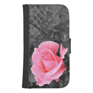 Pink rose samsung s4 wallet case