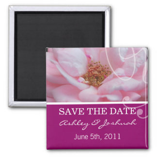 Pink Rose Save The Date Magnets