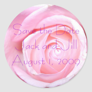 Pink Rose, Save the Date Round Sticker