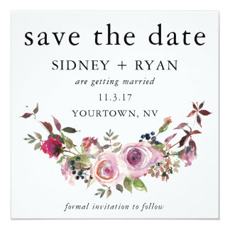 PINK ROSE Save the Date Watercolor Floral Bouquet Card