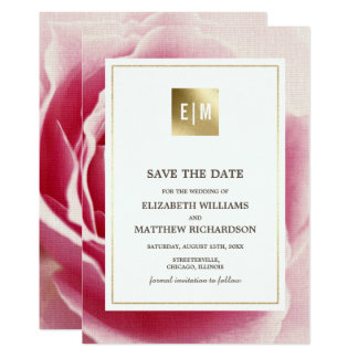 Pink Rose Save the Date Wedding Announcements