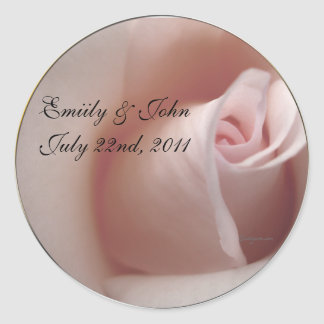 Pink Rose Save the Date Wedding Invitations Seals Stickers