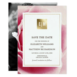 Pink Rose Save the Date Wedding Photo Announcement