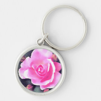 Pink Rose Silver-Colored Round Keychain