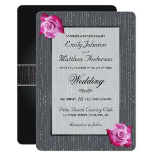 Pink Rose Silver Glow Gray Wedding Invitation
