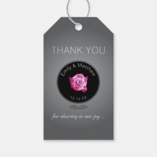 Pink Rose Silver Glow Wedding Thank You Gift Tags Pack Of Gift Tags