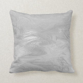 Pink Rose Silver Marble Molten Gray Abstract Throw Pillow