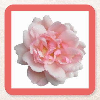 Pink Rose Square Paper Coaster