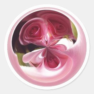 Pink Rose Swirl Round Sticker