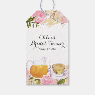 Pink Rose Teacup Bridal Shower Gift Tags Pack Of Gift Tags