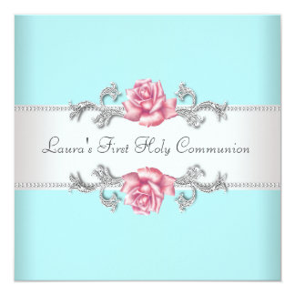 "Pink Rose Teal Girls Teal First Communion 5.25"" Square Invitation Card"